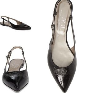 AGL Slingback Flat in Black Patent Leather Size 7